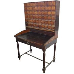 """Postal sorting desk, oak & pine, 60 openings but made to hold more, well used orig surface, 73""""H x 4"""