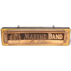 Harmonica hanging store display, Marine Band by M. Hohner, heavy cdbd with plastic face, VG orig con
