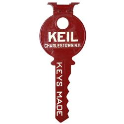 "Trade Sign, key maker, Keil-Charlestown, NH, 2-sided cast metal with orig bracket, VG cond, 12""H x 3"