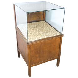 Fountain pen display case, floor model, birch/hardwood veneer w/plate glass top, drwr in back, missi