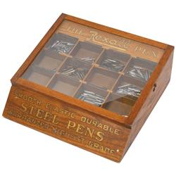 """Rexall Pen Point display case, complete w/orig transfers & many pen points, Exc orig cond, 5""""H x 14"""""""