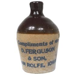 "Stoneware miniature adv jug from D. Ferguson & Son-Rolfe, Iowa, VG cond w/overall crazing, 3.25""H."
