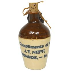 Stoneware miniature adv jug from J.T. Neff-Monroe, IA, w/2 tiny tie-on jugs, some roughness on handl