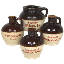 Stoneware miniature souvenir jugs & pot (4), from Marshalltown, Waterloo, Madrid & Eldora, Iowa, Mad
