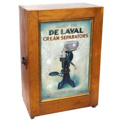 DeLaval Cream Separators parts cabinet, oak w/embossed metal insert, includes 4 drwrs, cubicles, hoo