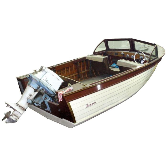 Speed boat 1959 thompson woodie w long tail johnson for How does an outboard motor work