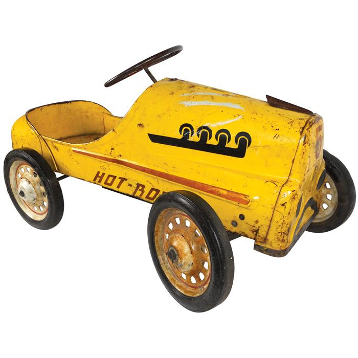 """Child's Pedal Car, Yellow Hot Rod, Chain Drive, Marked """"G"""