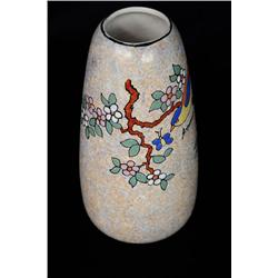 A Painted Porcelain Vase with Flowers and Birds, Signed A. Dubois.
