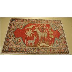 An Antique Turkish Pictorial Wool Rug.