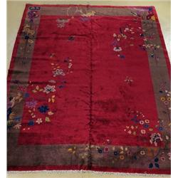An Antique Chinese Art Deco Wool Rug.