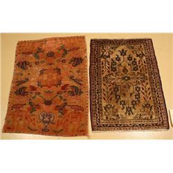 A Pair of Semi Antique Persian Hamadan Tabriz Wool Rugs.