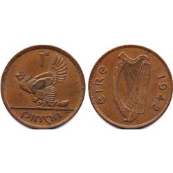 RARE 1942 IRELAND 1 PENNY HEN WITH CHICKS-CIRC