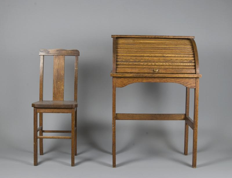 Image 1 : Antique Child's Roll Top Desk & Chair ... - Antique Child's Roll Top Desk & Chair
