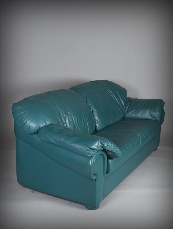 Natuzzi Turquoise Italian Leather Sofa. Loading Zoom