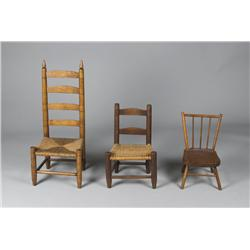 (3) Early American Child's Chairs, 19th C.