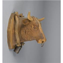 American Carved Bull Head With Yoke & Bell