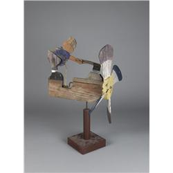 American Whirligig Depicting Farmer Choping Wood