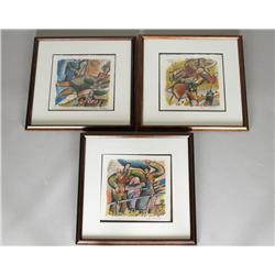 3 Theo Tobiasse Lithographs on Paper
