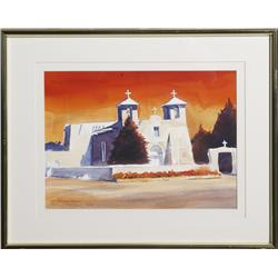 "John Droska, Watercolor; ""San Francisco Mission"""