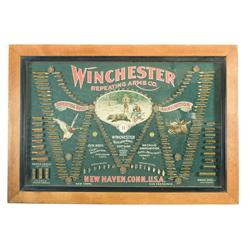 "Excellent Winchester ""Double W"" Cartridge Display/ Advertising Board in Frame"