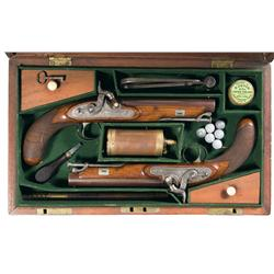 Fine Cased Set of Manton Dueling Pistols with Accessories -A) Manton Dueling Pistol  B) Manton Dueli