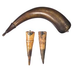 Two Knife Sharpening Stone Horn Holders and One Powder Horn