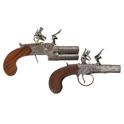 Two Flintlock Pistols -A) Richardson Flintlock Over Under Tap Action Pistol  B) W.H. Bannister Flint