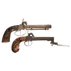 Two European Percussion Pistols -A) Unmarked Double Barrel Percussion Pistol with Extensive Etching