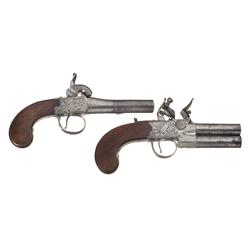 Two Antique English Pistols -A) Griffin Percussion Screw Barrel Pistol  B) Parsons Flintlock Tap Act