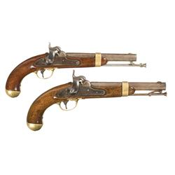 Two U.S. Aston Model 1842 Percussion Pistols with Saddle Holster -A) U.S. Aston Contract Model 1842