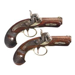 Exceptional Pair of Engraved and Silver Banded Henry Deringer Pistols -A) Engraved Silver Banded Hen