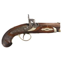Fine Isaac Hollis & Sons Deringer Percussion Pistol with Engraved German Silver Furniture