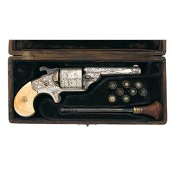 Excellent Cased Exhibition Quality Factory Engraved Silver Moore's Patent Front Loading Revolver wit