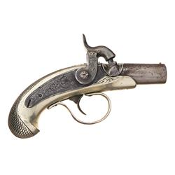 "Extremely Rare J.E. Evans ""Peanut"" Style Derringer Percussion Pistol with a Silver Stock"