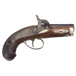 Gold Banded Henry Deringer Philadelphia Pocket Pistol Marked Hyde & Goodrich of New Orleans