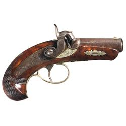 Excellent Engraved German Silver Banded Wurfflein Philadelphia Derringer Percussion Pistol