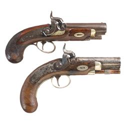Two Percussion Pocket Pistols -A) Clark Memphis Marked Percussion Pocket Pistol  B) Scarce Engraved