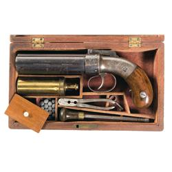 Allen & Thurber Double Action Bar Hammer Pepperbox Revolver with Case and Accessories