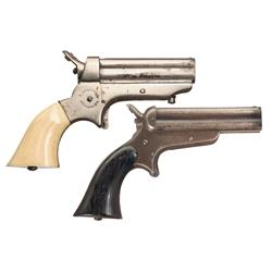 Two Sharps Four Barrel Pistols -A) Sharps Model 1A Four Barrel Pistol with Ivory Grips  B) Sharps &