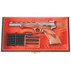 Excellent Cased Renaissance Engraved Belgian Browning Medalist Semi-Automatic Pistol