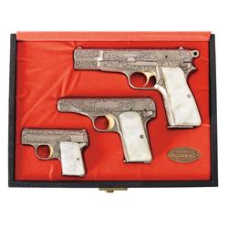 Excellent Cased Factory Engraved Belgium Browning Renaissance Pistol Set -A) Belgium Browning High P