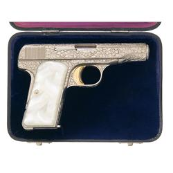Cased Engraved Belgian Browning Model 1910 Semi-Automatic Pistol