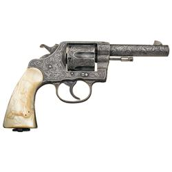 Rare Factory Engraved Colt New Service Revolver with Steer Head Pearl Grips and Factory Letter