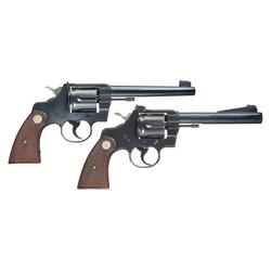 Two Colt Officers Model Double Action Revolvers -A) Scarce Colt Officers Model Heavy Barrel Target R