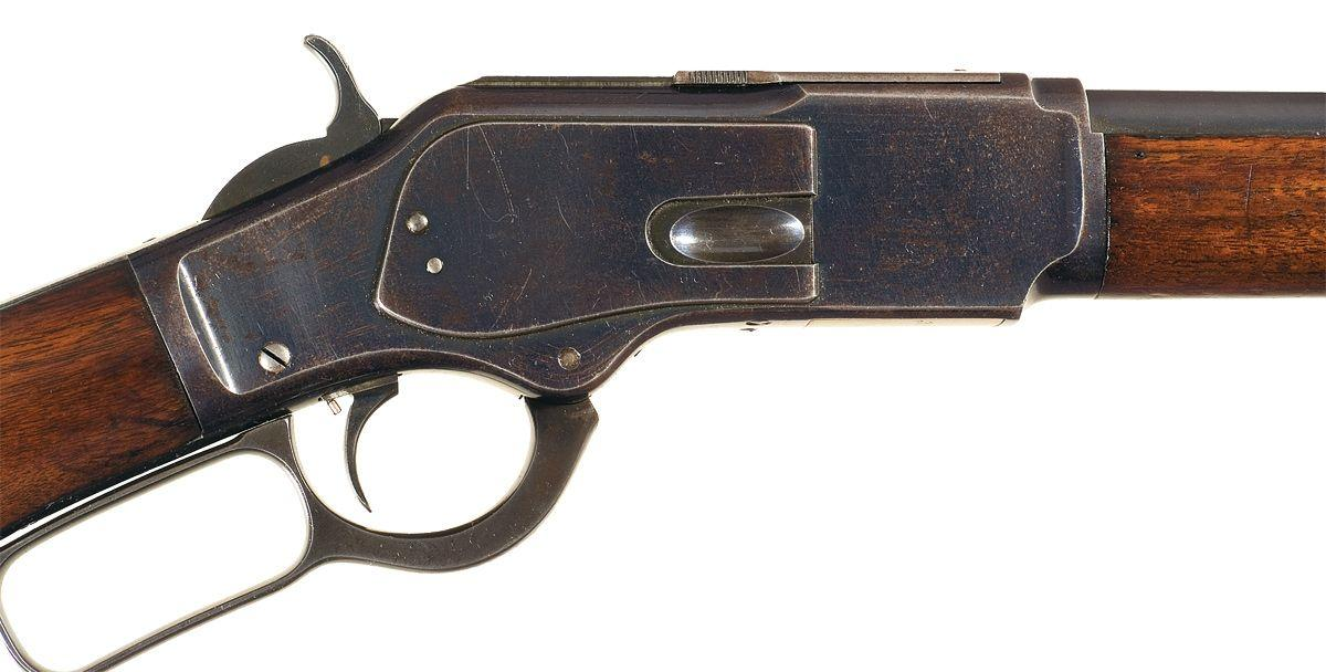 winchester model 1873 lever action rifle with plain pistol grip