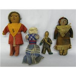 4 Antique Native American Dolls