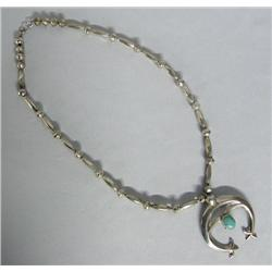 Navajo Silver Turquoise Naja Necklace
