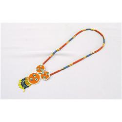 Chiricahua Apache Beaded Necklace With 3 Rosettes