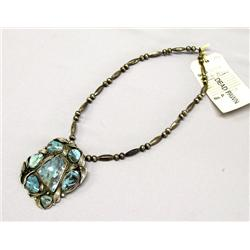 Old Pawn Navajo Silver Turquoise Necklace