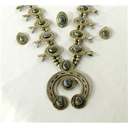 Navajo Silver Turquoise Squash Blossom Necklace Earrings & Ring